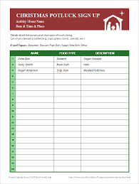 Potluck Sign Up Sheets For Excel And Google Sheets