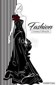 Fashion Luxury Glamour Elegant Woman Sketch Fashion Girl In Sketch