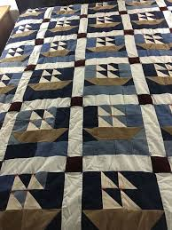 "245 best Antique and Vintage feedsack and Cotton quilts images on ... & Vintage handmade cotton denim & corduroy nautical sail boats quilt 78"" x 82"