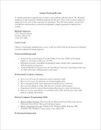 Resume Objective For Paralegal Wikirian Com