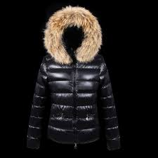 Moncler Jackets Women 2016 Down For With Fur Cap Black UK 5vEI