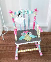 personalized painted owl child rocking chair made to order girl rocking chair