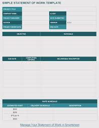 It Sow Template 20 Statement Of Work Templates Excel Word Write Pro Sow