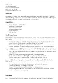 Child Care Resume Sample Best 60 Child Care Center Administrator Resume Templates Try Them Now
