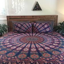 indian king size duvet cover blue mandala quilt cover ethnic bedding blanket set