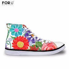 Floral Design Shoes For Ladies Us 29 99 25 Off Forudesigns Women Casual Sneakers Pretty Flower Printing Womens High Top Vulcanize Shoes Flats Female Canvas Shoes Zapatos In