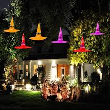 Outdoor Halloween Lights Entload Halloween Outdoor Decorations Witch Hat 6pcs Hanging Lighted Glowing Witch Hat Decor Halloween Lights For