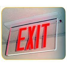 Edge Lit Exit Light Morris 73335 Recessed Mount Edge Lit Exit Sign Single Sided Legend Green Led Aluminum Housing