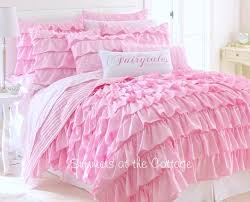 DREAMY PINK FAIRY TALES RUFFLED QUILT FULL QUEEN