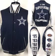 nfl iii apparel dallas cowboys 5 time super bowl champs jacket spellout mens l from g