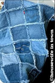 Denim Rag Quilt Made From Thrift Store Jeans & Frayed Denim Quilt Made From Recycled Denim Jeans Adamdwight.com