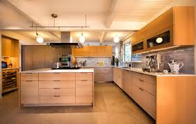 light wood kitchen designs. 1950s u-shaped kitchen idea in san francisco with flat-panel cabinets, light wood designs