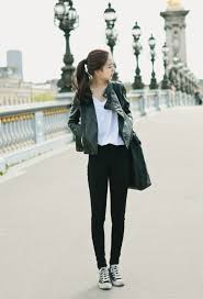 very cute and effortless look with the black leather jacket white tee jeans