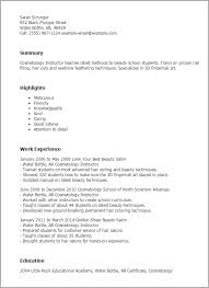 Cosmetologist Resume Extraordinary Cosmetology Instructor Popular Cosmetology Resume Templates Free