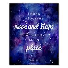 Psalms watercolor Galaxy Stars Bible Verse Quote Poster | Zazzle.com