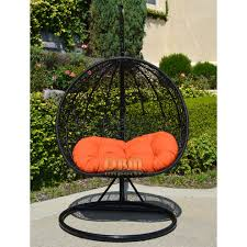 2 persons seater bird egg nest wicker rattan swing lounge chair hanging hammock in or out door patio porch black orange