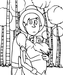 The Onceler With The Lorax Coloring Pages Coloring Sun
