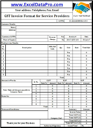 Sample Invoice Excel Unique Download GST Invoice Format For Service Providers In Excel