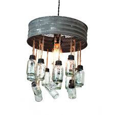 stunning diy pendant chandelier ideas with aged round metal rim and glass mason jar