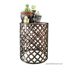 aluminum bronze glass top lattice accent table decorative side garden stool