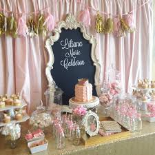 Pink and gold baby shower. {dessert table/ candy buffet ...