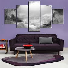 5 pc set grey white and black abstract cloud no frame oil painting canvas prints wall art pictures for living room decorations in painting calligraphy  on grey and white canvas wall art with 5 pc set grey white and black abstract cloud no frame oil painting