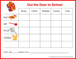 Behavior Chart Template For Home Free Reward Chart Out The Door To School Free Printable