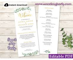 Templates For Wedding Programs Greenery Wedding Program Tea Length Template Greenery Wedding Order Of Service Template 78