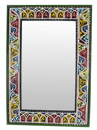 moroccan mirror frame rectangular zouak wood black green handmade extra large 100cm x 70cm zm4