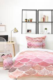 pink mermaid scales bed in a bag watercolor bedding set by wonder forest