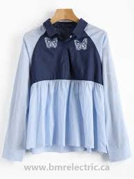 women s clothing chambray panel striped shirt blue and white xl cotton polyester 0 2400kg r6tb0a4qo6