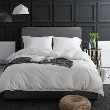 simple and stylish silk bedding set plain color king duvet cover satin sheets set egyptian cotton white bed linens bed cover full size duvet cover bedding
