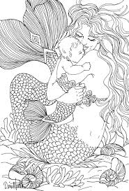 Mermaid Her Baby Coloring Page Garden