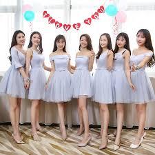 <b>Blue Grey Colour</b> V neck <b>Mini</b> Bridesmaid Dresses Short Sleeves ...