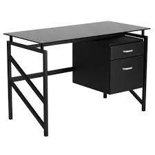 glass top office desk. Computer Desk For Small Spaces Black Glass Top Office I