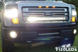 2013 F150 Light Bar In Bumper 2009 2014 F150 Paladin 210w Curved Lower Grille Led Bar
