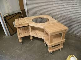custom made green egg corner grill table