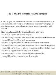 hr administrator resume samples top 8 hr administrator resume samples