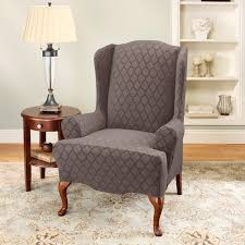 sure fit stretch marrakesh wing chair slipcover in espresso t cushion 187725236hm