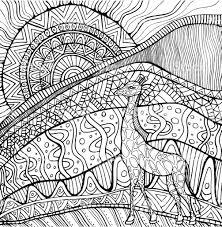 Decoratieve Giraffe En Zon En Afrikaanse Landschap Kleurplaat Pagina