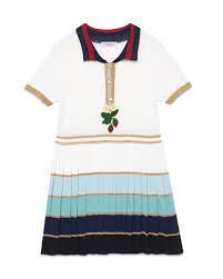 gucci kids clothes. gucci short-sleeve striped pleated dress, white/multicolor, size 6-12 kids clothes