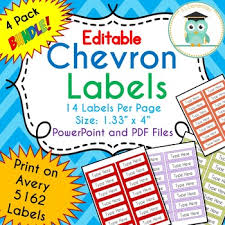 Avery 5162 Labels Bundle Chevron Labels Editable Classroom Notebook Folder Name Tags
