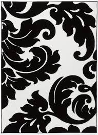 well woven melody vines damask area rug black white