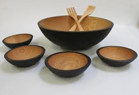 17 inch ebonized red oak bowl set bee s oil finish wooden bowl for