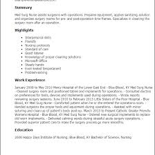 Most Med Surg Nurse Resume Unthinkable Professional Templates To
