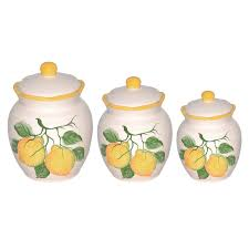 Yellow Canister Sets Kitchen Lorren Home Trends Lemon 3 Piece Kitchen Canister Set Reviews