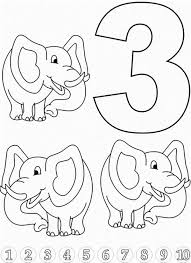 Small Picture Learn Number 3 with Three Elephants Colouring Page Happy Colouring