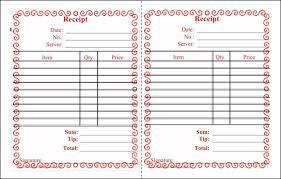 receipt blank blank restaurant receipt template