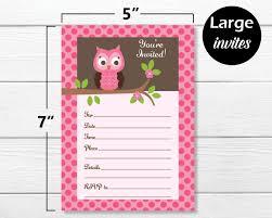 Amazoncom 50 Pink Owl Invitations And Envelopes Large Size 5x7