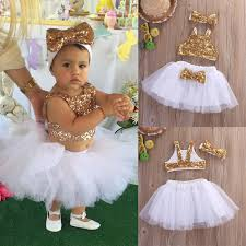 Kids Baby Girl 3PCS Cloth Gold Sequins Vest Tops+White Tutu Skirts+Gold Bow  Headwear Outfits Set Party Gown Formal Colthing Sets-in Clothing Sets from  ...